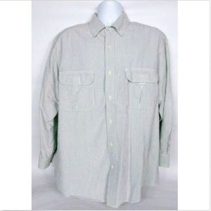 Woolrich Mens Loden Striped Shirt Large Gray White